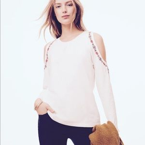 NWT LOFT Sz M Ivory Embroidered Cold Shoulder Top